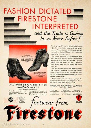 1930 Ad Rubber Footwear Firestone Fashion Gaiter Boston Massachusetts Rain Shoes - Original Print Ad (Gaiters Footwear)
