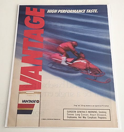 1988 Vantage High Performance Cigarette Snowmobile Magazine Print Advertisement