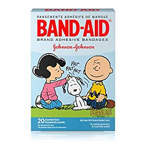Band-Aid Brand Adhesive Bandages Featuring Peanuts, Assorted Sizes, 20 Count
