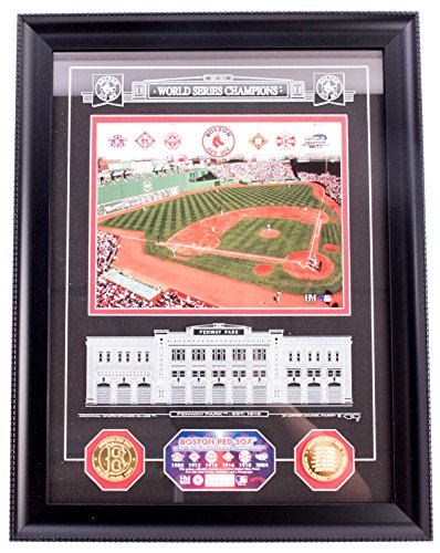 AUTHENTIC APPAREL MLB - Boston Red Sox World Champions Fenway Park Collectible Baseball Plaque - Framed Etched Glass