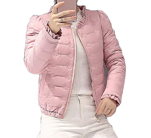 Fashion Cotton Short Down Thin Pink Women's Jacket Basic AGAING Pure Slim Color q8IwFgU