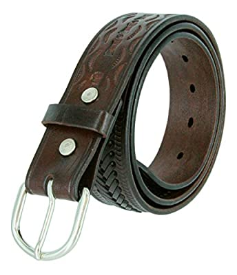 2287 Western Floral Basketweave Genuine Leather Belt