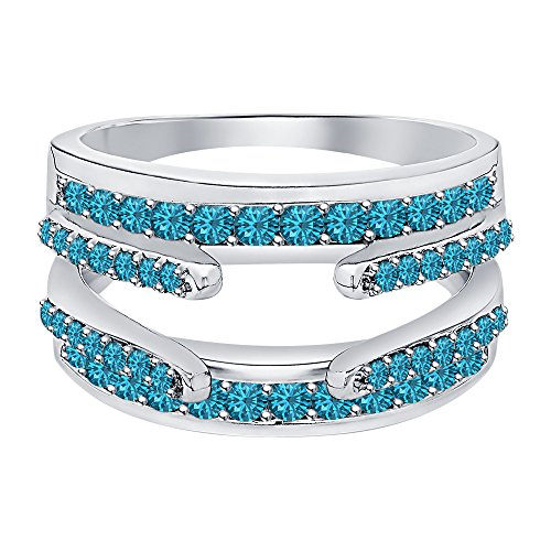 Topaz Enhancer - Dabangjewels 1.10 ctw London Blue Topaz Sterling Silver Plated Combination Cathedral Ring Guard Wrap Jacket