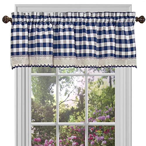 GoodGram Buffalo Check Plaid Gingham Custom Fit Window Curtain Treatments Assorted Colors, Styles & Sizes (Single 14 in. Valance, Navy)