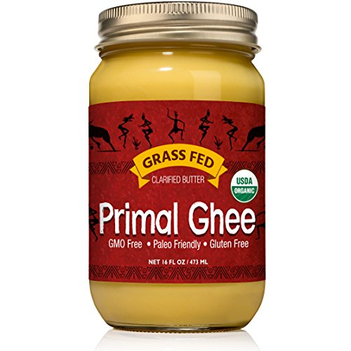 Primal Ghee - GRASS FED Organic Unsalted Clarified Butter - Pure GMO Free Desi Ghee from Grassfed Cows for Butter Coffee, Indian Recipes, Paleo and Keto Diet - a Heart Healthy Cooking Oil - 16 oz Jar Creamy Garlic Mashed Potatoes