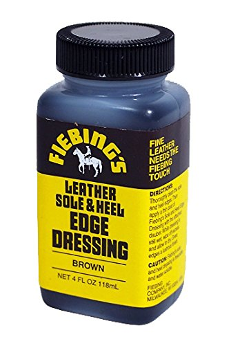 Fiebing's Leather Sole & Heel Brown Edge Dressing, 4 Oz. - Gloss Shoe Dressing (Brown Edge)