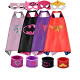 Dress up Costume Cape and Mask Set with Matching Shaped Rubber Wristbands and 1 Drawstring Bag for Kids, Birthday Party Children (4pcs for Girl)