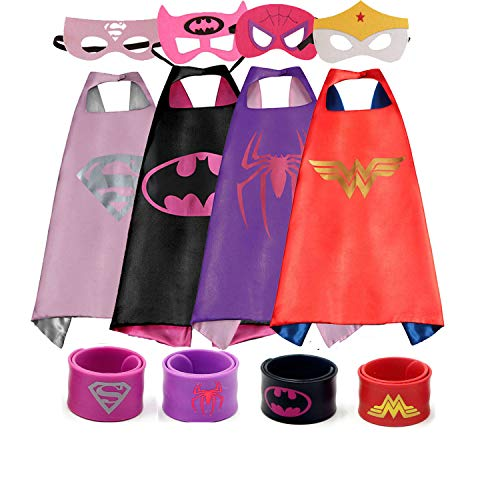Dress up Costume Cape and Mask Set with Matching Shaped Rubber Wristbands and 1 Drawstring Bag for Kids, Birthday Party Children (4pcs for Girl) by COTATERO