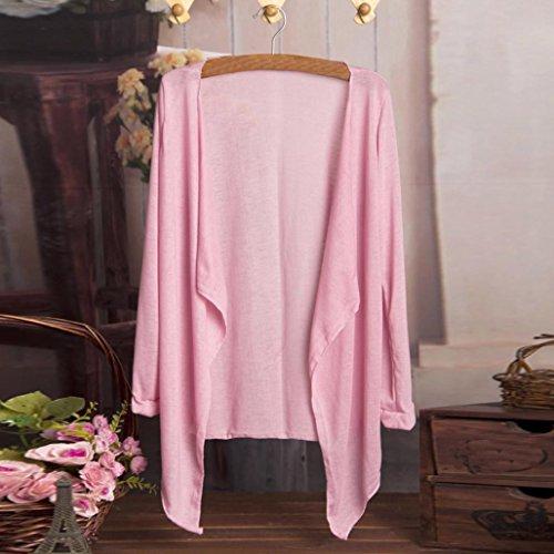 Sottile a Lungo Protezione Cardigan Donne Solare Blusa Abbigliamento Modale Top LQQSTORE Moda Lunga Rosa Manica 0BHqF