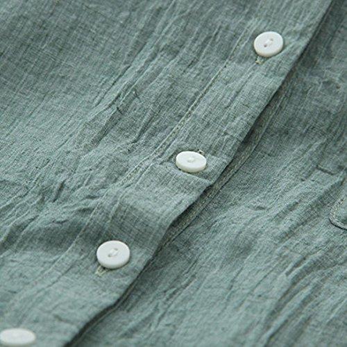 Unie Coton Vovotrade Bouton Saison Longues Tops Vert Manches avec Blouse Femmes Chemise Toute Casual AZqHga