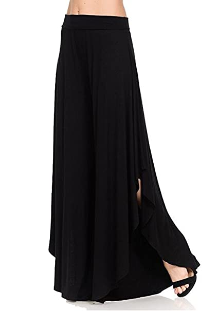 df1fae59e9 Women's Comfy High Waist Loose Skirt Casual Dress Flowy Layered Cropped  Capris Wide Leg Palazzo Trousers