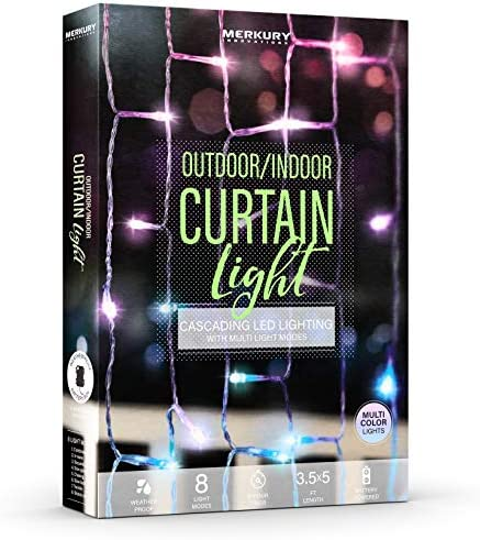 Merkury Innovations Indoor Outdoor Weatherproof Cascading Curtain Lights with Flashing Modes, Battery-Operated LED Lighted Backdrop Curtain for Bedroom, Wedding, Decoration, or Christmas Multicolor