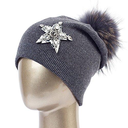 Gorros nbsp;Ladies Grey Spring C oscuro With Female Dark Hat Knitted Star Gris Shine Women'S Casual Cap Dq402B Beanies B Hat QETUOAD nbsp; qT7zwFIq