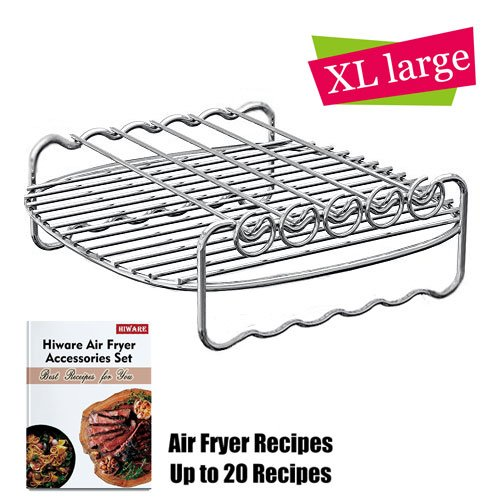 [XLVersion] Air Fryer Accessories - Air Fryer Rack XL with 5 Skewers, Free Recipes Included, Compatible with Philips XL / Power Air Fryer XL / GoWISE USA XL / Cooks Essentials Air fryer XL