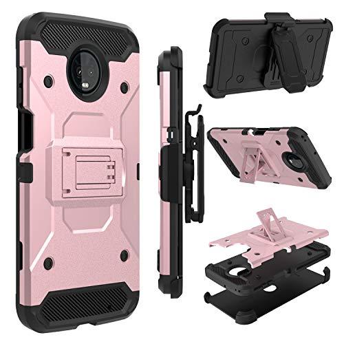 Moto Z3 Play Case, Moto Z3 Case, Zenic Heavy Duty Shockproof Hybrid Full-Body Protection Case Cover with Swivel Belt Clip and Kickstand for Motorola Moto Z3 (Pink)