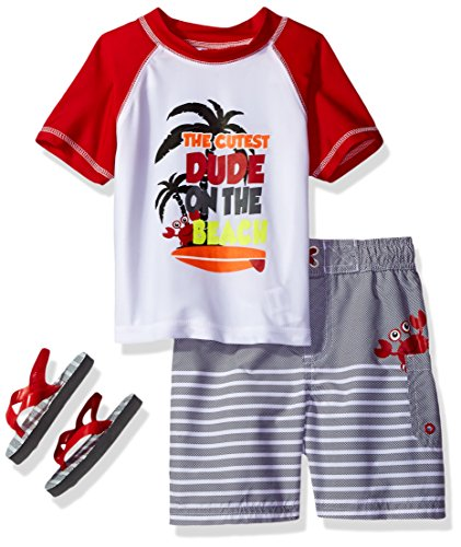 Wippette Baby Toddler Boys' Palm Tree Rash Guard Set, Red, 4T