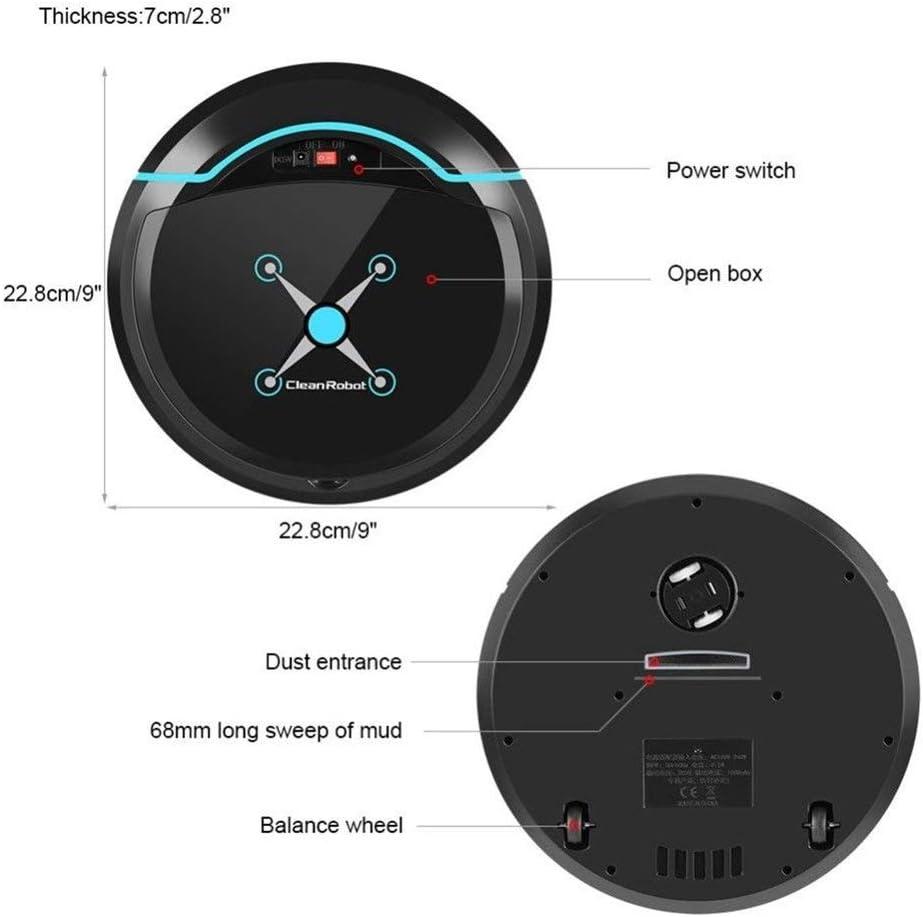 NhLi Robots aspirateurs Robot Automatique Intelligent Aspirateur Petits Aspirateurs Balayer Robot Dirt Floor Auto Accueil USB Rechargeable (Color : Black) Black