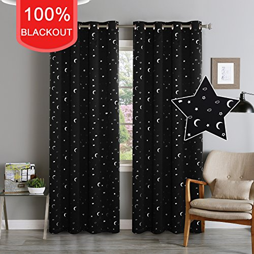 Flamingo P 100% Blackout Kids Bedroom Curtains Moon and Stars in Black Base Cute Pattern, Thermal Insulated Soft Curtains 84 inches Long, Grommet Top Curtain Drapes for Boys Room, 1 Pair (Cute Curtain)
