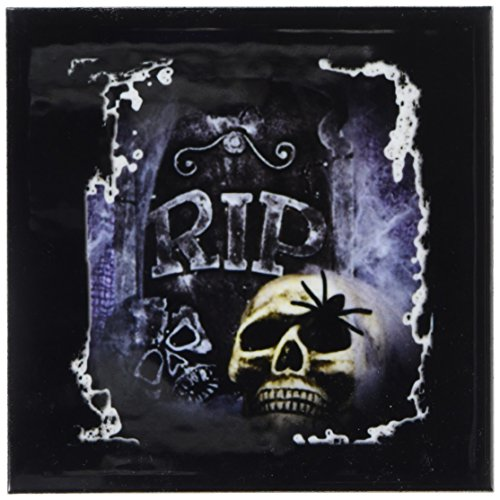 3dRose CST_28314_4 Grave Marker and Skull Halloween Skull Design-Ceramic Tile Coasters, Set of 8