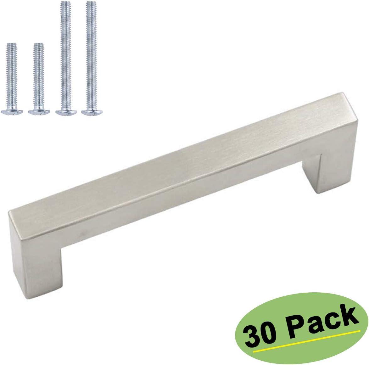 (30 Pack) homdiy Kitchen Cabinet Handles Modern Drawer Pulls - HDJ12SN Cabinet Hardware Stainless Steel Cabinet Pulls Cabinet Door Handles, 5in Hole Centers Pulls for Dresser Drawers