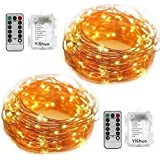 YiShuo 2 Pack 50 Led String Lights Fariy Lights Battery Operated Waterproof Fairy String Lights with Remote Control Timer 8 Modes 16.5ft Copper Wire Christmas Lights Christmas Decor (Warm White)