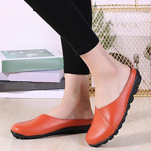 Slip for Yellow On White Black Shoes VEMOW Coffee Girls Blue Bottom Casual Sandals Orange Boat Soft Ladies Women Work Pure Office Spring Home 2018 Flats for Color Soft Red Summer UK qZzxqFw46