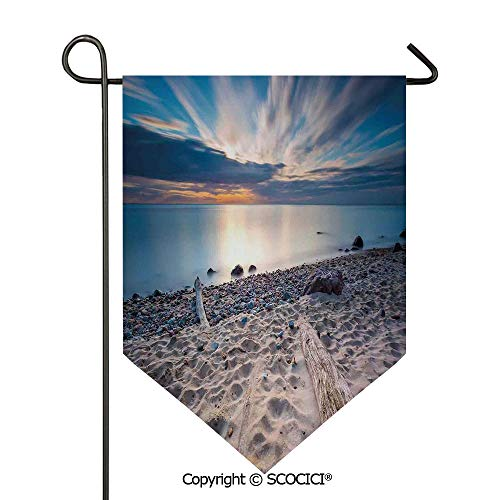 SCOCICI Easy Clean Durable Charming 12x18.5in Garden Flag Seascape Theme Sea Shore with Driftwood Trees Trunks Cloudy Sky,Blue and Beige Double Sided Printed,Flag Pole NOT Included (Garden Driftwood Trunk)