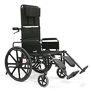 Karman Healthcare KM5000F18 Aluminum Lightweight Reclining Wheelchair, Black, 24 Inches Rear Wheels and 18 Inches Seat Width by Karman Healthcare