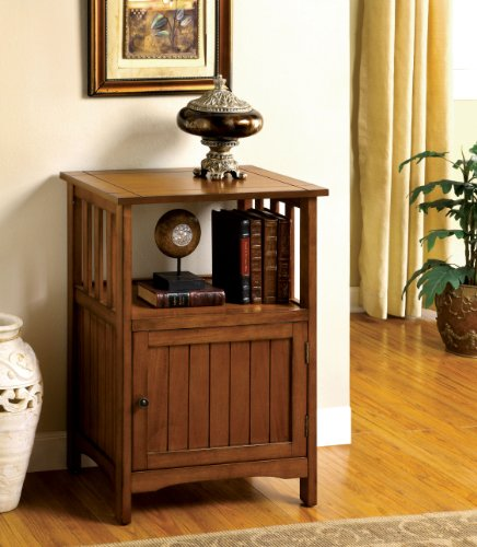 Furniture of America Pompey Mission Style 1-Door Side Table, Antique Oak Finish by Furniture of America (Image #1)