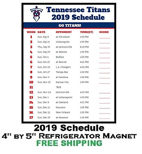 b1fe41b9 Amazon.com: Tennessee Titans NFL Football 2019 Schedule and Scores ...