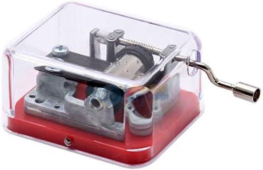 FnLy Caja de música de plástico con manivela de 18 Notas con ...