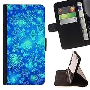 Planetar® Modelo colorido cuero carpeta tirón caso cubierta piel Holster Funda protección Para Sony Xperia M5 E5603 E5606 E5653 ( Invierno del copo de nieve Blue Sky Chrismas )