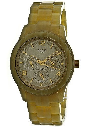 Women Watch Guess W13572L2 Plastic Resin Case and Bracelet Gold Tone Dial Day ()