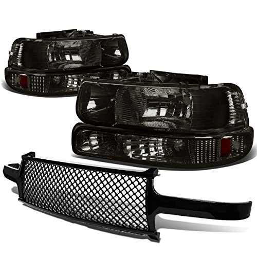 - For Chevy SIlverado/Suburban/Tahoe Pair of Smoke Lens Amber Corner Headlight+Black Meshed Front Grille