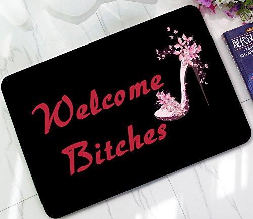- ChezMax Pink High Heel Shoes Printed Non-Slip Doormat Coral Fleece Indoor Outdoor Kitchen Floor Rug Front Door Mat Funny Flannel Carpet 23.62