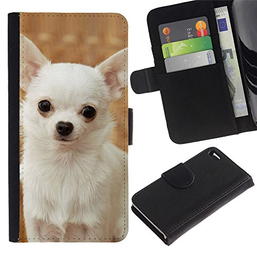 LASTONE PHONE CASE / Luxe Cuir Portefeuille Housse Fente pour Carte Coque Flip Étui de Protection pour Apple Iphone 4 / 4S / Happy White Chihuahua Dog Small