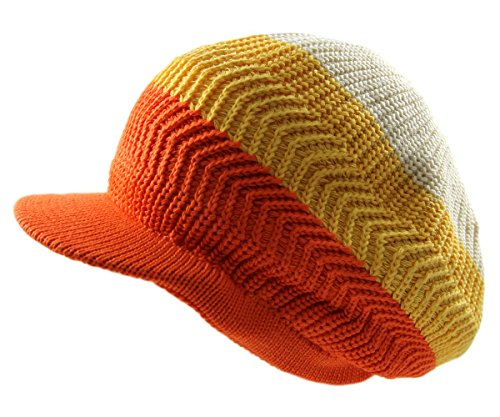RW Knitted Cotton Rasta Slouchy Beanie Visor (Cream/Yellow/Orange)
