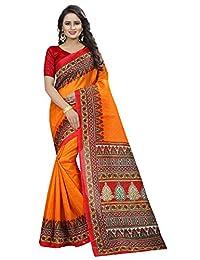 ETHNICMODE Indian Women's Bhagalpuri Silk Fabrics Multi-Colored Printed Sari with Blouse Piece (Fabric) DEVDAS Yellow