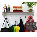 paint colors for small bathrooms Solid Wood Coat Rack Wall Mounted Entryway Organization Hook Rack with Shelf 6 Hooks 79.5cm for Storage Hallway Bathroom Living Room Bedroom Handmade (6 Hooks =31.29 Inch, White Paint Color)