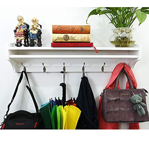 Solid Wood Coat Rack Wall Mounted Entryway Organization Hook Rack with Shelf 6 Hooks 79.5cm for Storage Hallway Bathroom Living Room Bedroom Handmade (6 Hooks =31.29 Inch, White Paint Color)