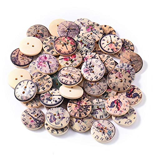 KAN-X Best Design 50pcs Mixed Vintage Colorful Clock Wood Buttons Scrapbooking Sewing Craft, Flower Wall Clock - S Floor Lamp, Antique and in Decorative Collectibles, Altered Art Mixed Media from KAN-X