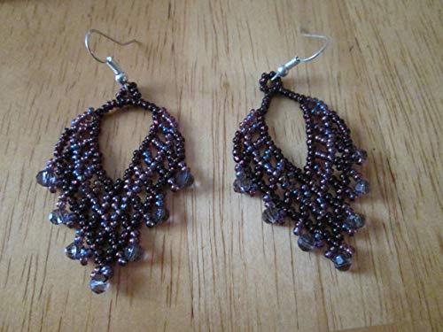 Diamond Accent Dangle Earrings - purple hand beaded glass seed beads Crystals accents dangle earrings diamond design beadwork fair trade handmade