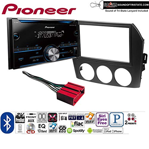 Pioneer FH-S500BT Double Din Radio Install Kit with CD Player Bluetooth Fits 2006-2008 Mazda MX-5 + Sound of Tri-State - Mx Lanyard