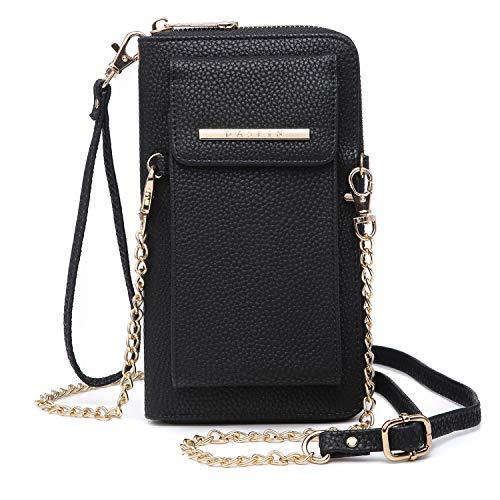 Cellphone Wallet Purse Phone Pouch Wristlet Clutch Crossbody Shoulder Bag - 12 Slots (Black Color)
