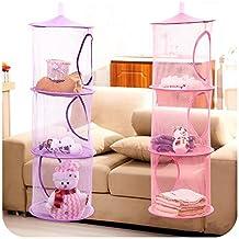 Homecube 2 Pcs Set Hanging Mesh Storage Basket Organizer, Toy Storage Cage,3 Compartments,Collapsible (Pink+Purple)
