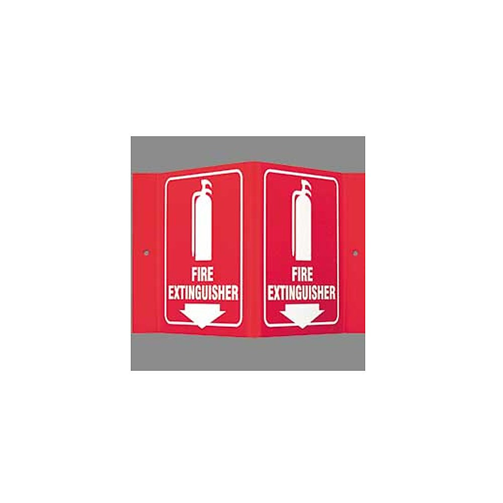 Fire Extinguisher Sign,8 x 8In,WHT//R,ENG BRADY L0FE15A