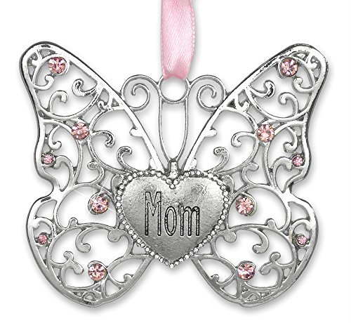 BANBERRY DESIGNS Mom Butterfly - Silver Filigree Butterfly with Pink Crystals - Engraved with Mom on The Heart Charm - 3