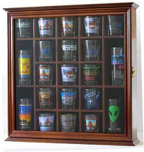 - 21 Shot Glass Shooter Display Case Holder Rack Wall Cabinet, Glass Door, SC01 (Walnut Finish)