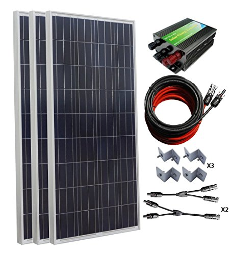 ECO-WORTHY 500W Polycrystalline Solar Panel Kit for Home Off Grid: 3pcs 150W Poly Solar Panels+Solar Panel Charge Controller+Solar Cable+MC4 Branch Connectors Pair+Solar Panel Mounting Brackets