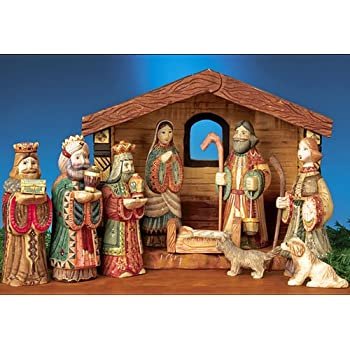 Amazon Com Russian Hand Carved Nativity Set Stable And 9